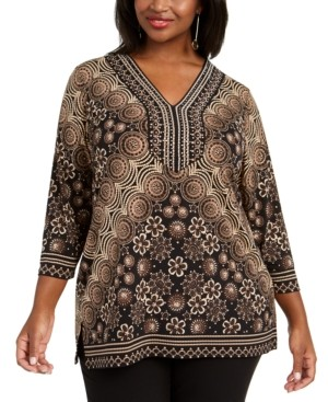 JM Collection Plus Size Rhinestone Embellished Printed Top, Created for Macy's