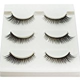 ABCsell 3Pairs Long Cross False Eyelashes Thick Black Fake Eye Lashes Makeup Natural Beauty Tools for Women Summer (H)