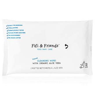 Fifi & Friends 100% Organic Cotton Cleansing Baby Travel Wipes, 100% Biodegradable, 32 Wipes per Pack, FF020