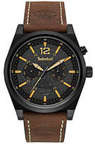 Timberland Men's Stainless Black & Brown Leather Watch