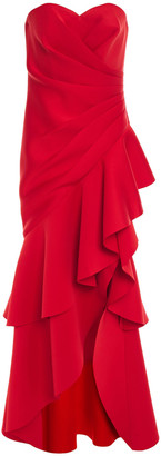Badgley Mischka Strapless Ruffled Scuba Gown