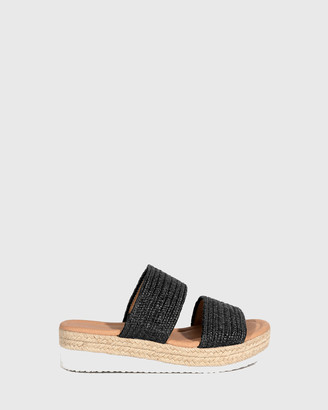 Wittner - Women's Black Sandals - Duty Textured Elastic Flatform Slides - Size One Size, 39 at The Iconic