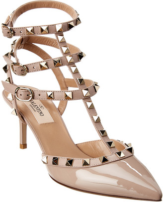 Valentino Rockstud Caged 65 Patent Ankle Strap Pump