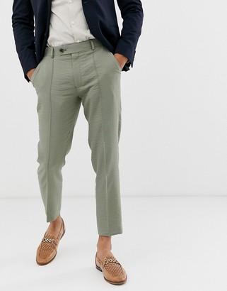 Asos Design DESIGN skinny crop smart pants in olive crepe texture