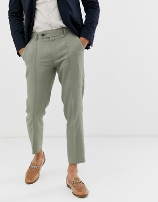 ASOS DESIGN skinny crop smart pants in olive crepe texture