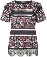 Dorothy Perkins Black Stripe Floral T-Shirt