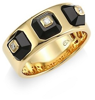 Maria Canale Pyramide 18K Yellow Gold, Diamond & Onyx Narrow Ring