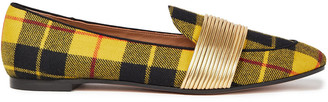 Aquazzura Metallic Faux Leather And Checked Twill Loafers