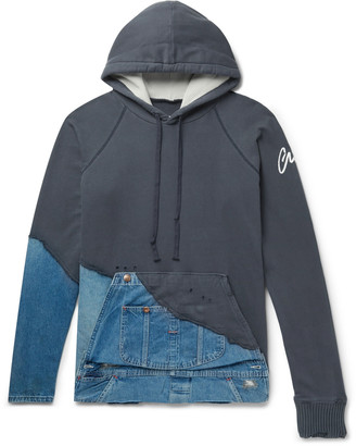 Greg Lauren Panelled Distressed Loopback Cotton-Jersey and Denim Hoodie - Men - Blue