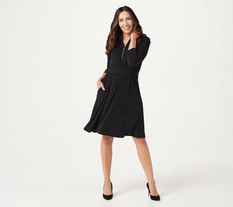 Susan Graver Liquid Knit 3/4 Sleeve Shirt Dress