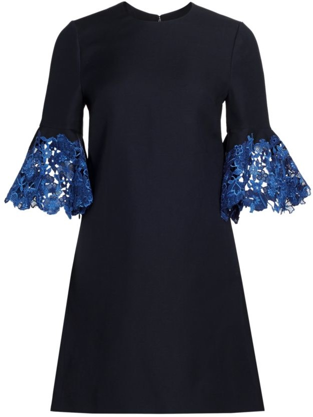 Valentino Floral Lace-Trim Sheath Dress