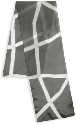 Eileen Fisher Stripe Contrast Silk Scarf