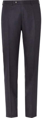 Canali Navy Slim-Fit Melange Super 120s Brushed-Wool Trousers