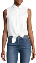 Mother Foxy Knot Sleeveless Button-Front Top, White