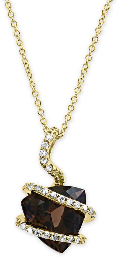 "Effy Smoky Quartz (3-1/3 ct. t.w.) & Diamond (1/10 ct. t.w.) 18"" Pendant Necklace in 14k Gold"