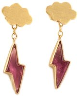 Marie Helene De Taillac 22kt gold cloud & pink tourmaline lightning bolt earrings