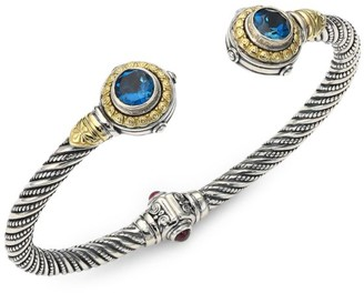 Konstantino Sterling Silver/18K Yellow Gold London Blue Topaz & Garnet Bracelet