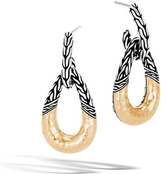 John Hardy Classic Chain Hammered 18K & Sterling Silver Hoop Drop Earrings