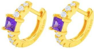 Opes Robur Gold Vermeil Princess Hoop Huggies - Purple