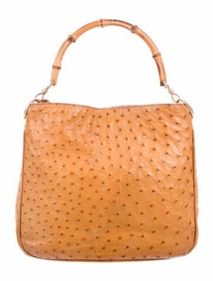 Gucci Vintage Ostrich Bamboo Hobo Tan