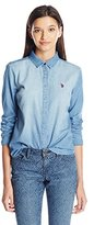 U.S. Polo Assn. Juniors Long Sleeve Denim Shirt in Light Indigo Wash
