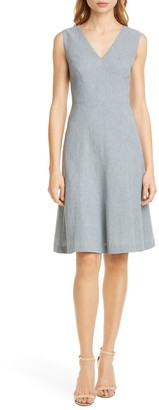 Tailored by Rebecca Taylor Sleeveless Linen Blend Fit & Flare Dress