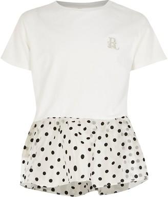 River Island Girls White organza polka dot peplum T-shirt