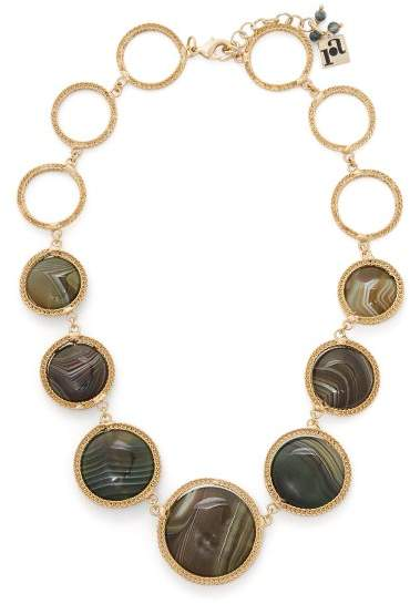 Rosantica By Michela Panero - Scarabeo Agate Drop Necklace - Womens - Green