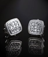 diamond pave and silver square stud earrings