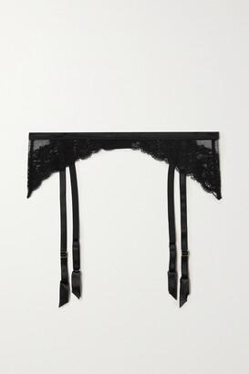Coco de Mer Seraphine Silk-blend Satin-trimmed Lace Suspender Belt - Black