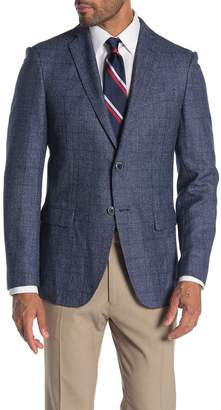 John Varvatos Baxter Check Notch Collar Wool & Linen Suit Separate Jacket