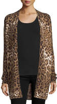 Neiman Marcus Leopard-Print Open Cashmere Cardigan