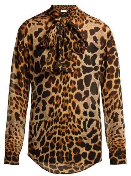 Saint Laurent Leopard Print Silk Georgette Blouse - Womens - Leopard