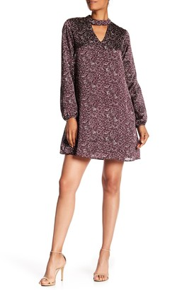 Bobeau B Collection By Choker Neck Long Sleeve Shift Dress