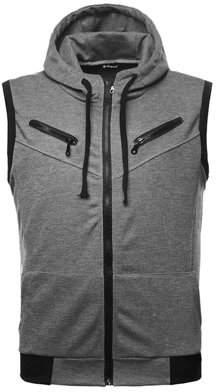 Unique Bargains Mens Kangaroo Pocket Zip Up Drawstring Hooded Vest Burgundy M US 40