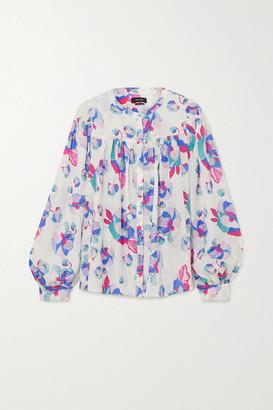 Isabel Marant Ritonea Pintucked Floral-print Silk Blouse - White