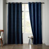 west elm Velvet Grommet Curtain - Regal Blue