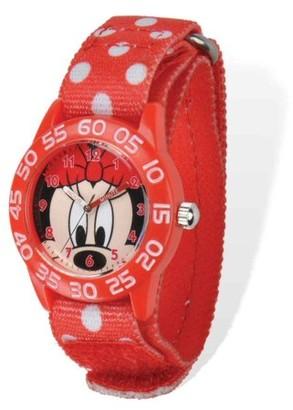 Disney Minnie Mouse Girls' Red Plastic Time Teacher Watch, Red Stretch Nylon Strap
