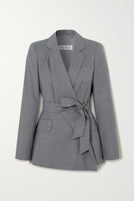 Max Mara Belluno Belted Asymmetric Wool Blazer - Gray