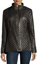Via Spiga Quilted Zip Puffer Coat, Black