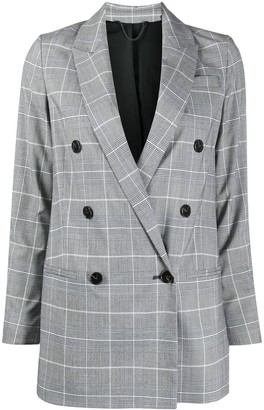 AllSaints Check Double-Breasted Blazer