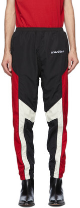 Moschino Black and Red Broken Logo Track Pants
