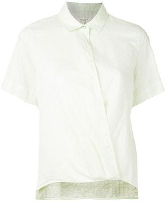 Rag & Bone Wrap-Front Striped Short Sleeved Shirt