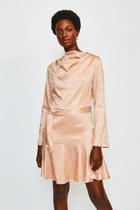 Karen Millen Jacquard Sleeved Cowl Neck Dress
