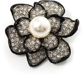 Avalaya Bridal Synthetic Pearl Crystal Flower Brooch (Black & Silver)