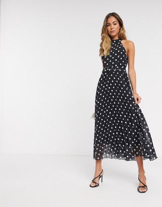 Style Cheat halterneck pleated midaxi dress with belt in contrast polka