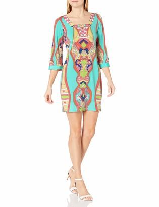 MSK Women's Square Neck Printed 3/4 Sleeve Dress