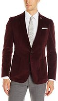Nick Graham Men's Two Button Slim Fit Double Face Blazer w/ Pocket Square Lining and Lapel Pin