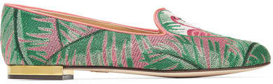 Charlotte Olympia Flamingo Leather-trimmed Embroidered Canvas Slippers - Pink