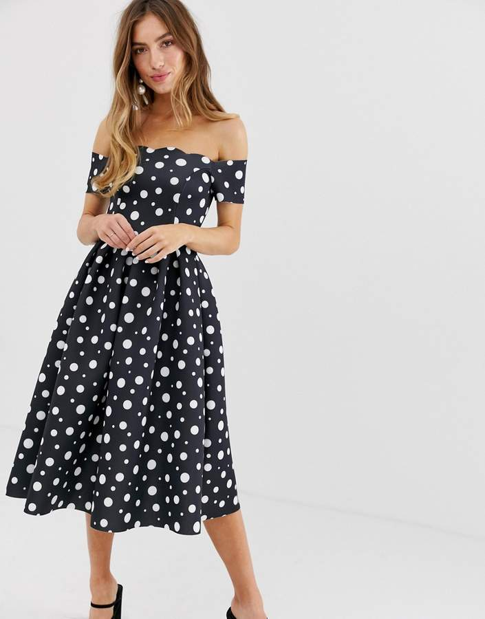 Asos Design DESIGN Scallop neckline polka dot prom midi dress